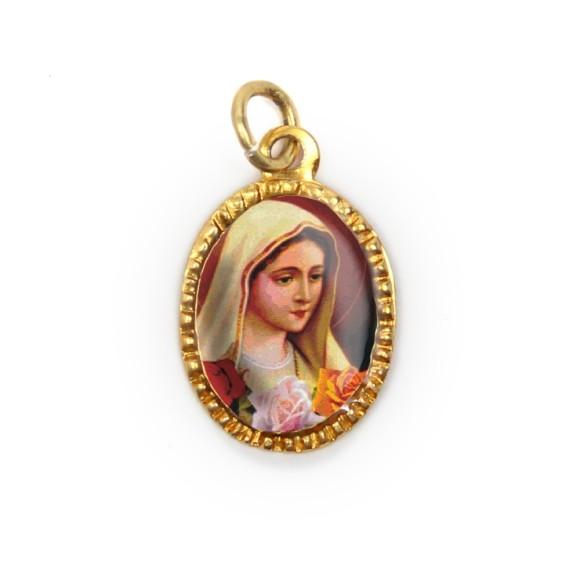 MD103044P10 - Medalha de Alumínio Oval Dourada c/ 10un. N. Sra. De Rosa Mística - 2X1,3cm