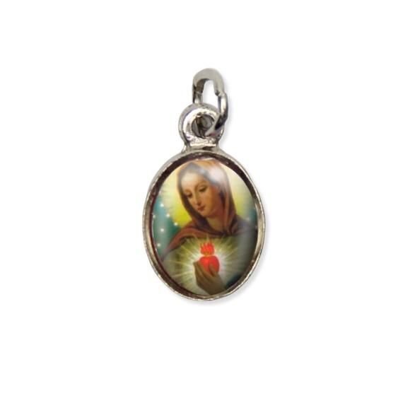 MD123001P10 - Medalha Chama do Amor  Pícula c/ Cruz Níquel c/ 10un. - 1,8x1cm