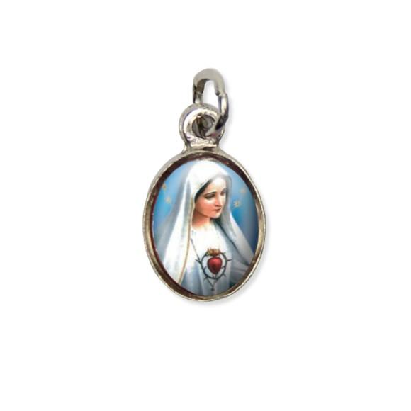MD123002P10 - Medalha Imaculado Coração de Maria Pícula c/ Cruz Níquel c/ 10un. - 1,8x1cm