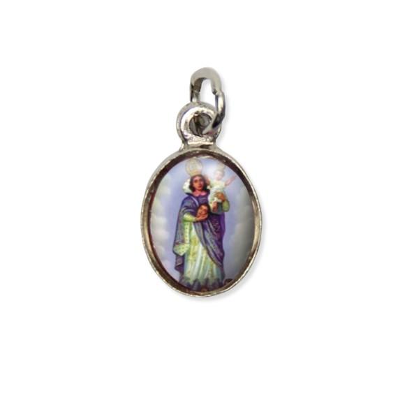 MD123004P10 - Medalha N. Sra. Da Cabeça Pícula c/ Cruz Níquel c/ 10un. - 1,8x1cm