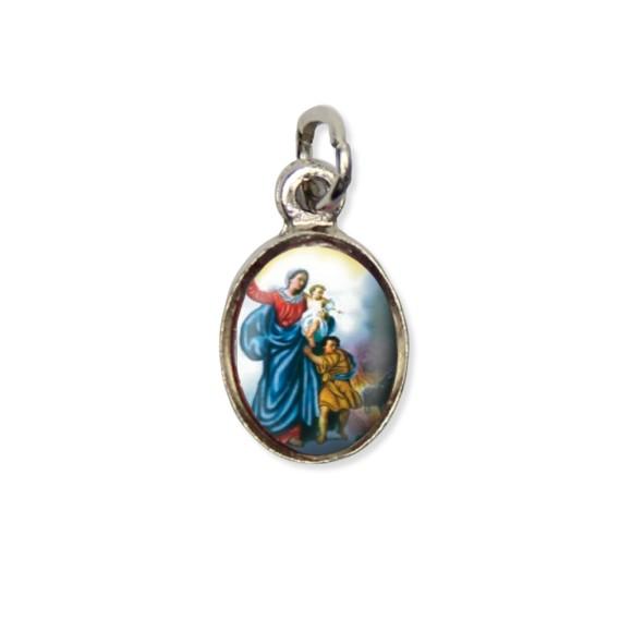 MD123006P10 - Medalha N. Sra. Da Defesa Pícula c/ Cruz Níquel c/ 10un. - 1,8x1cm