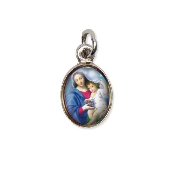 MD123007P10 - Medalha N. Sra. Da Divina Providência Pícula c/ Cruz Níquel c/ 10un. - 1,8x1cm