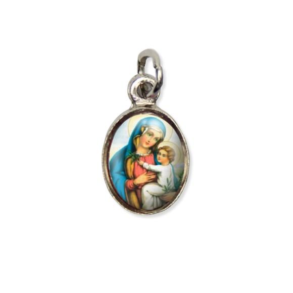 MD123008P10 - Medalha N. Sra. Da Paz Pícula c/ Cruz Níquel c/ 10un. - 1,8x1cm