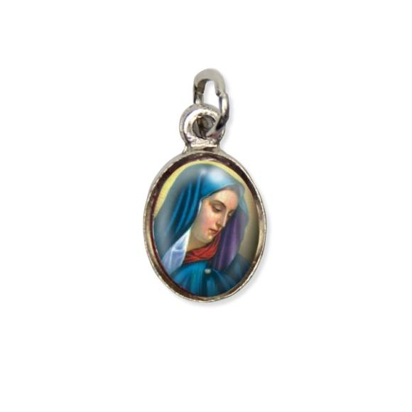 MD123011P10 - Medalha N. Sra. Das Dores Pícula c/ Cruz Níquel c/ 10un. - 1,8x1cm
