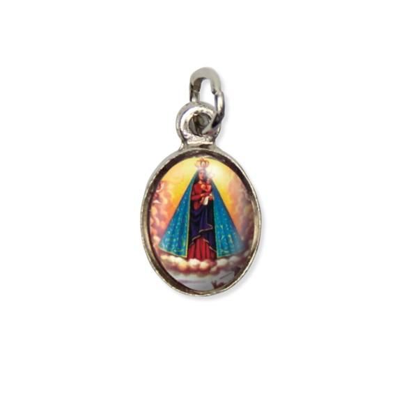 MD123015P10 - Medalha N. Sra. De Nazaré Pícula c/ Cruz Níquel c/ 10un. - 1,8x1cm