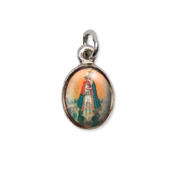 MD123018P10 - Medalha N. Sra. Do Bom Parto Pícula c/ Cruz Níquel c/ 10un. - 1,8x1cm