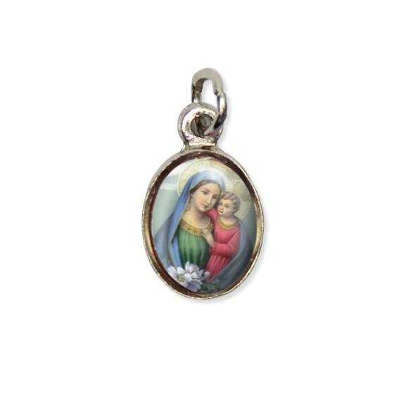MD123020P10 - Medalha N. Sra. Do Conselho Pícula c/ Cruz Níquel c/ 10un. - 1,8x1cm