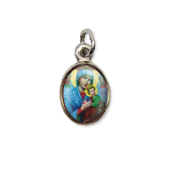 MD123022P10 - Medalha N. Sra. do Perpétuo Socorro Pícula c/ Cruz Níquel c/ 10un. - 1,8x1cm