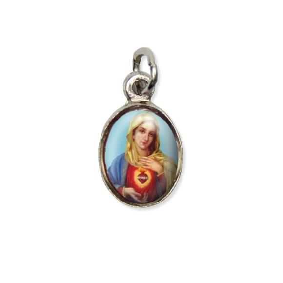 MD123027P10 - Medalha Sagrado Coração de Maria Pícula c/ Cruz Níquel c/ 10un. - 1,8x1cm
