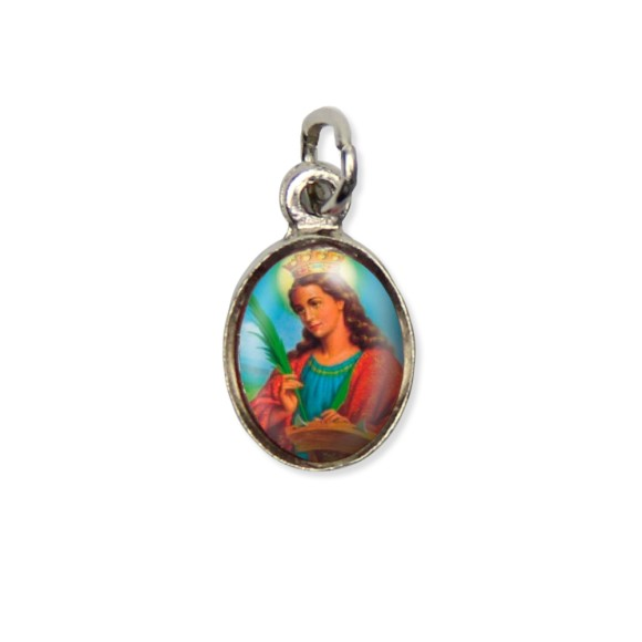 MD123032P10 - Medalha Santa Catarina Pícula c/ Cruz Níquel c/ 10un. - 1,5x1,8cm