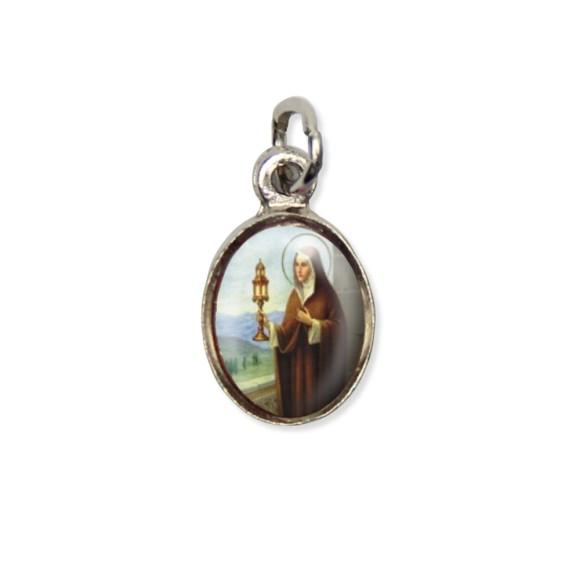 MD123033P10 - Medalha Santa Clara Pícula c/ Cruz Níquel c/ 10un. - 1,5x1,8cm