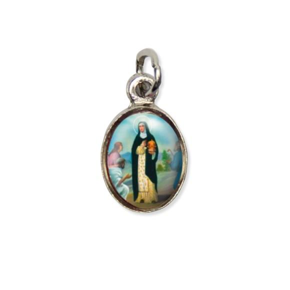 MD123034P10 - Medalha Santa Edwiges Pícula c/ Cruz Níquel c/ 10un. - 1,5x1,8cm