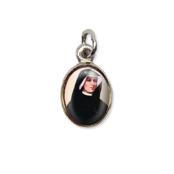 MD123035P10 - Medalha Santa Faustina Pícula c/ Cruz Níquel c/ 10un. - 1,5x1,8cm