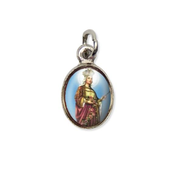 MD123037P10 - Medalha Santa Isabel Pícula c/ Cruz Níquel c/ 10un. - 1,5x1,8cm