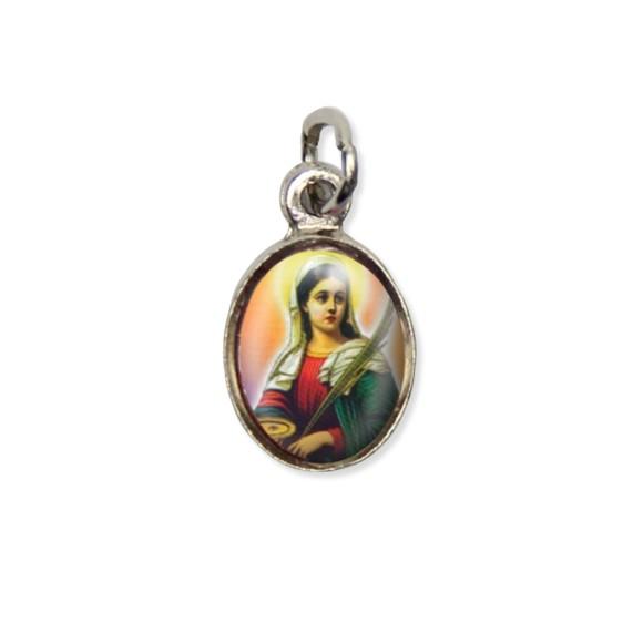 MD123040P10 - Medalha Santa Luzia Pícula c/ Cruz Níquel c/ 10un. - 1,8x1cm