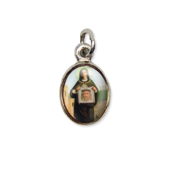 MD123047P10 - Medalha Santa Verônica Pícula c/ Cruz Níquel c/ 10un. - 1,8x1cm
