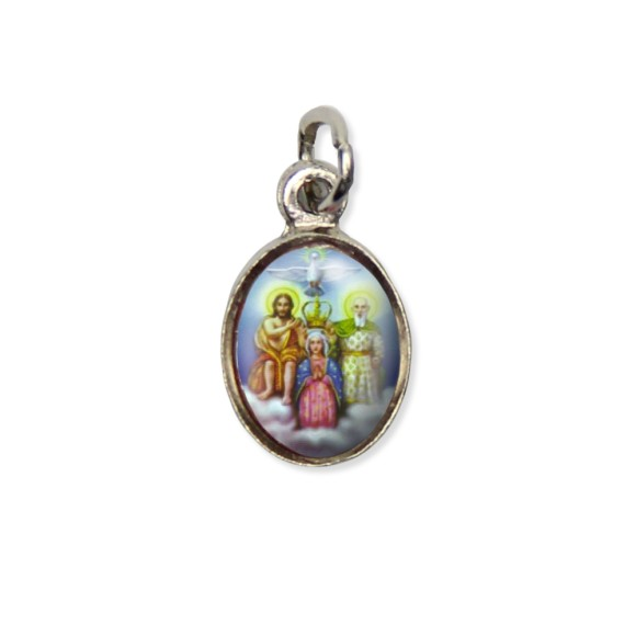 MD123400P10 - Medalha Divino Pai Eterno Pícula c/ Cruz Níquel c/ 10un. - 1,8X1cm