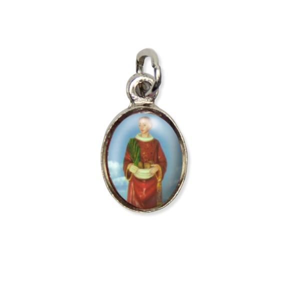 MD123412P10 - Medalha Santo Estevão Pícula c/ Cruz Níquel c/ 10un. - 1,8x1cm