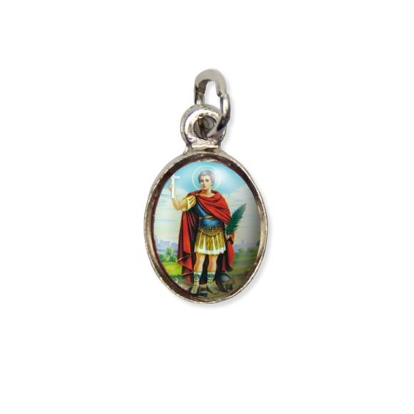 MD123413P10 - Medalha Santo Expedito Pícula c/ Cruz Níquel c/ 10un. - 1,8x1cm