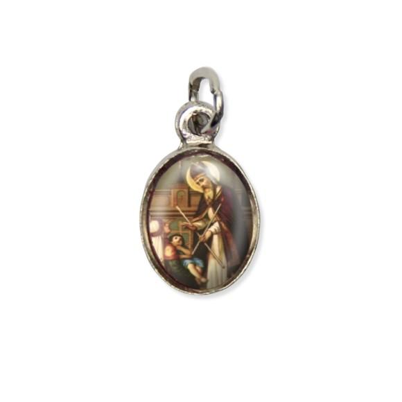 MD123417P10 - Medalha São Brás Pícula c/ Cruz Níquel c/ 10un. - 1,8x1cm