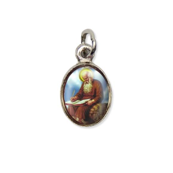 MD123425P10 - Medalha São Jerônimo Pícula c/ Cruz Níquel c/ 10un. - 1,8x1cm