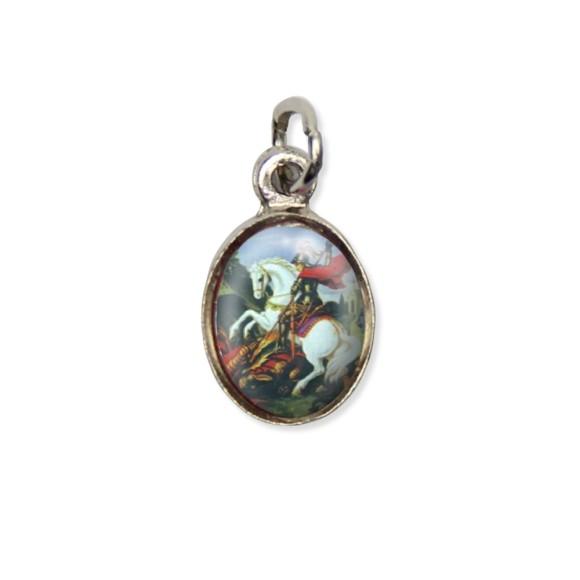 MD123427P10 - Medalha São Jorge Pícula c/ Cruz Níquel c/ 10un. - 1,8x1cm