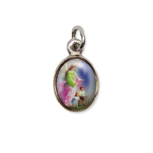 MD123800P10 - Medalha Anjo Da Guarda Pícula c/ Cruz Níquel c/ 10un. - 1,8x1cm