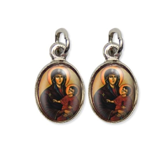 MD124004P5 - Medalha Maria Mãe de Deus Pícula Dupla Níquel c/ 5un. - 1,5x1,8cm