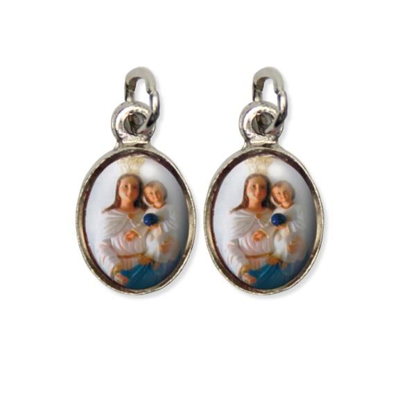 MD124020P5 - Medalha N. Sra. Dos Aflitos Pícula Dupla Níquel c/ 5un. - 1,5x1,8cm