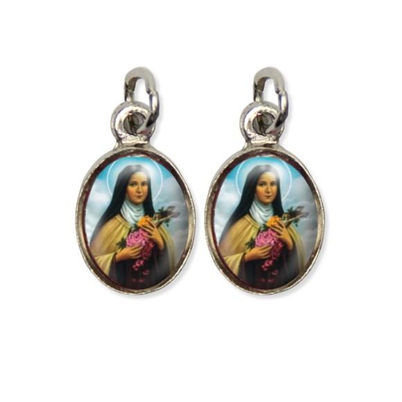 MD124037P5 - Medalha Santa Terezinha das Rosas Pícula Dupla Níquel c/ 5un. - 1,5x1,8cm