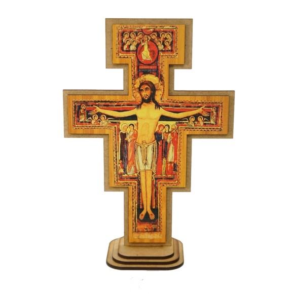 CU810003 - Cruz de São Damião Pedestal MDF - 15,5x22,5cm