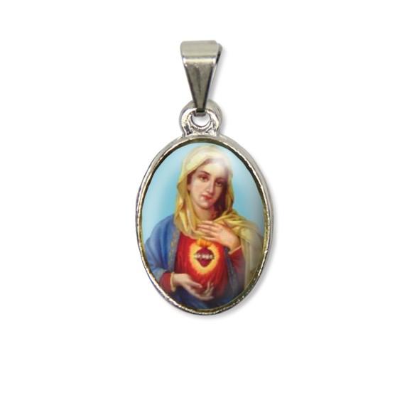 MD125029P2 - Medalha Sagrado Coração de Maria PX Níquel c/ 2un. - 3X1,5cm