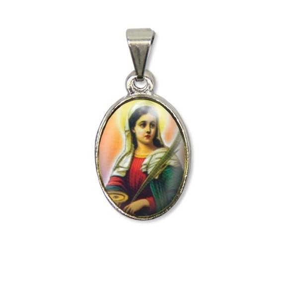 MD125041P2 - Medalha Santa Luzia PX Níquel c/ 2un. - 3X1,5cm