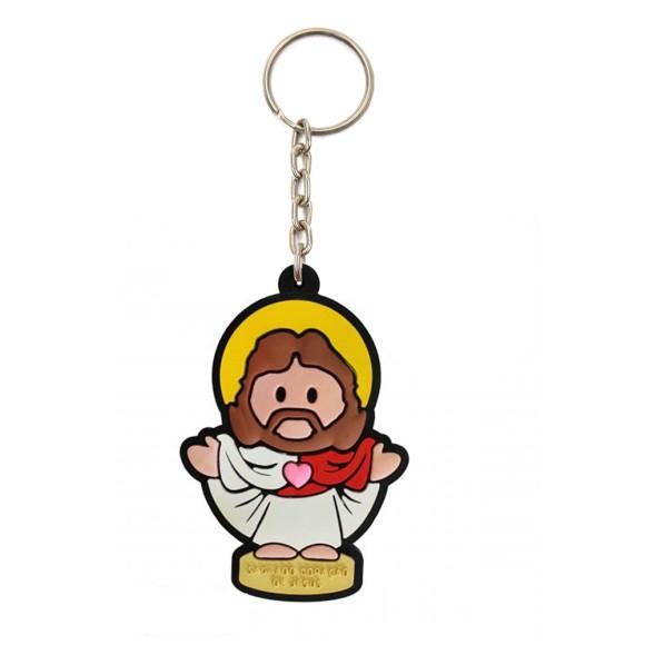 CH50404 - Chaveiro Sagrado Coração de Jesus Emborrachado - 12x4,5cm