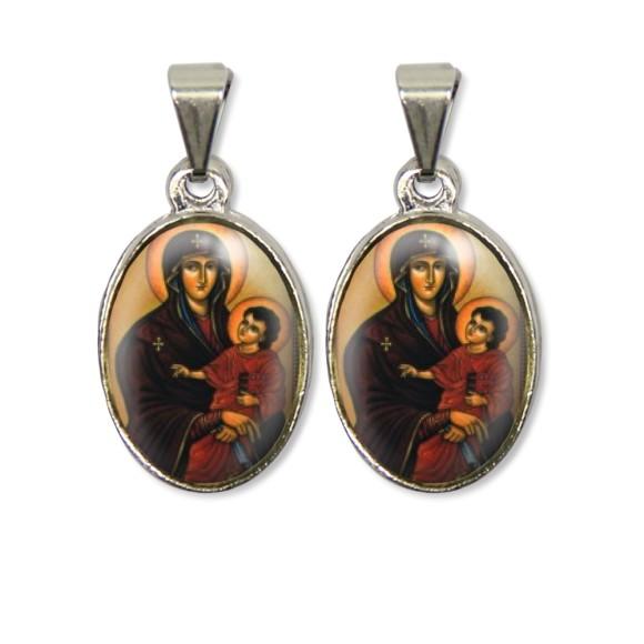 MD126002P2 - Medalha Mãe de Deus PX Dupla Níquel c/ 2un. - 3X1,5cm