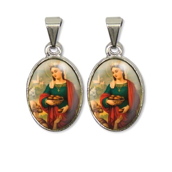 MD126019P2 - Medalha Santa Isabel de Hungria PX Dupla Níquel c/ 2un. - 3X1,5cm