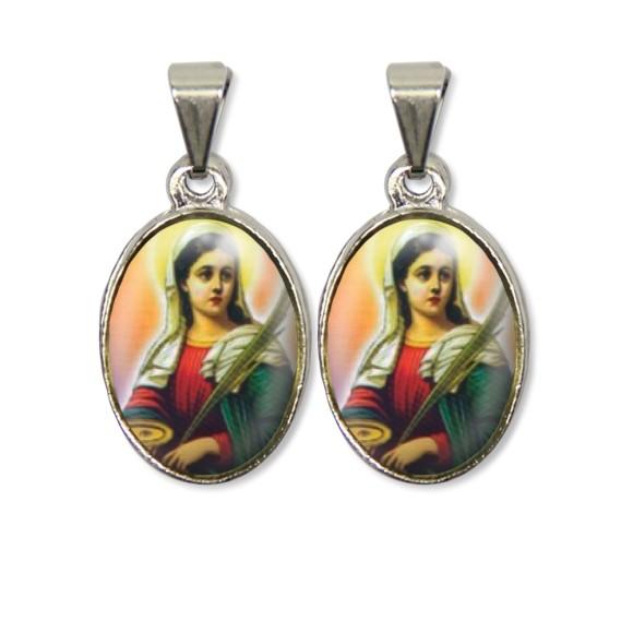 MD126021P2 - Medalha Santa Luzia PX Dupla Níquel c/ 2un. - 3X1,5cm