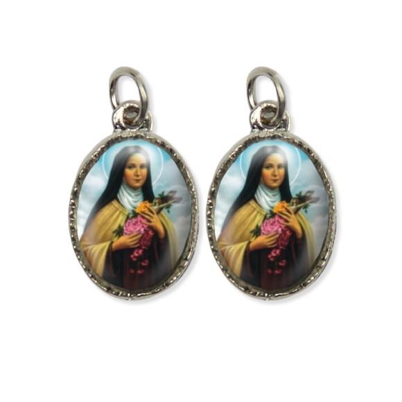 MD127015P5 - Medalha Santa Terezinha das Rosas Dupla Níquel c/ 5un. - 2,2x1,2cm