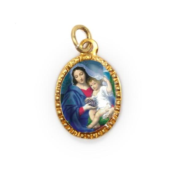 MD103018P10 - Medalha de Alumínio Oval Dourada c/ 10un. N. Sra. Da Divina Providência - 2X1,3cm