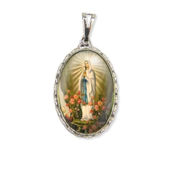 MD128026 - Medalha N. Sra. De Lourdes Rendada Níquel - 5x2,5cm