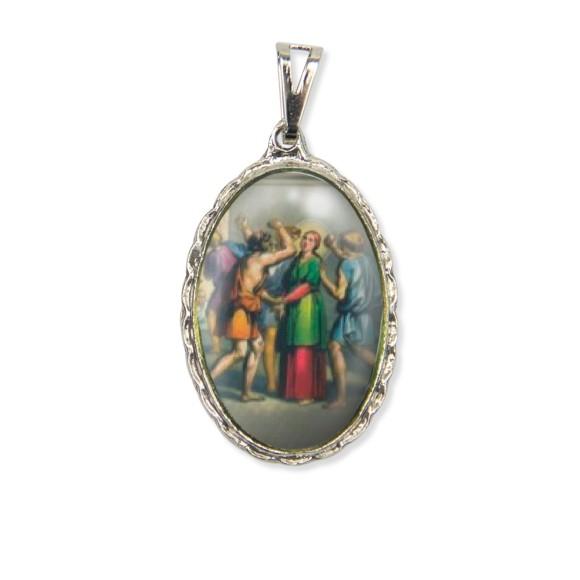 MD128053 - Medalha Santa Apolônia Rendada Níquel - 5x2,5cm