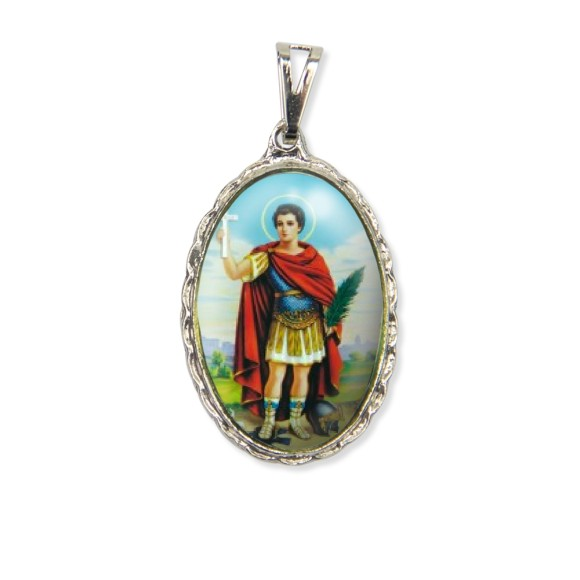 MD128422 - Medalha Santo Expedito Rendada Níquel - 5x2,5cm