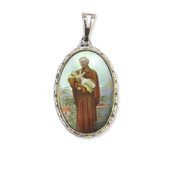 MD128424 - Medalha São Benedito Rendada Níquel - 5x2,5cm