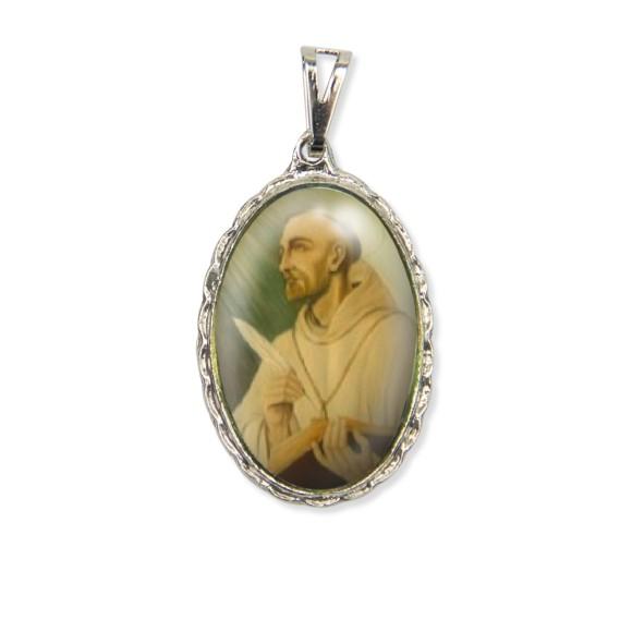 MD128425 - Medalha São Bernado Rendada Níquel - 5x2,5cm