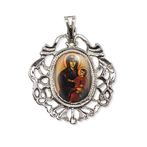 MD129005 - Medalha Mãe de Deus Camafeu Níquel - 5,5x4,2cm