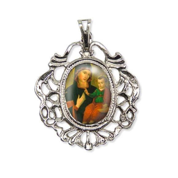MD129008 - Medalha N. Sra. Consolata Camafeu Níquel - 5,5x4,2cm