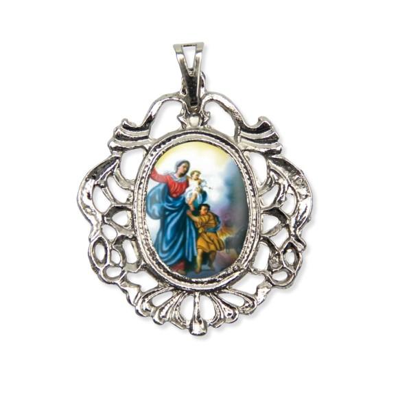 MD129013 - Medalha N. Sra. Da Defesa Camafeu Níquel - 5,5x4,2cm