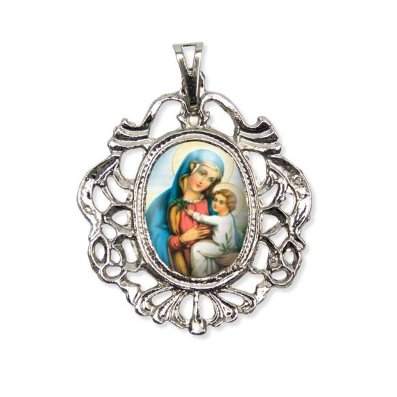 MD129017 - Medalha N. Sra. Da Paz Camafeu Níquel - 5,5x4,2cm