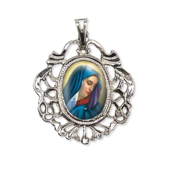 MD129020 - Medalha N. Sra. das Dores Camafeu Níquel - 5,5x4,2cm