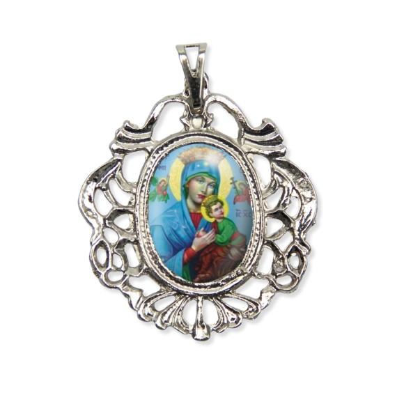 MD129035 - Medalha N. Sra. Do Perpétuo Socorro Camafeu Níquel - 5,5x4,2cm